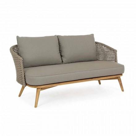 Udendørssofa 2 eller 3 sæder i træ og due-grå homemotion stof - Luana