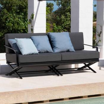 3-personers udendørs sofa i naturligt træ eller sort og luksuriøst stof - Suzana