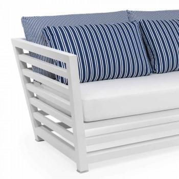 2-pers. Havesofa i hvide eller sorte puder af aluminium og blå - Cynthia