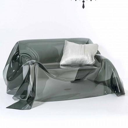 Sofa med moderne design i Jolly røget plexiglas, fremstillet i Italien