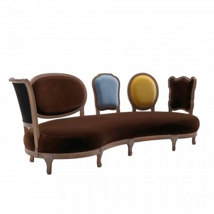 Sofa luksus design, 5 Massivt træ rygge, fremstillet i Italien, Manno