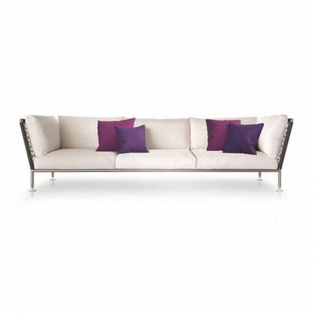 Udendørs sofa i moderne design i hvidt stof fremstillet i Italien - Ontario