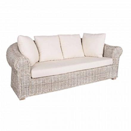 Sofa til indendørs eller indendørs 3 sæder i Rattan Homemotion - Francioso