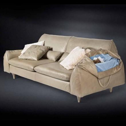 Massivt træ og læder sofa med armlæn Eve for objekter