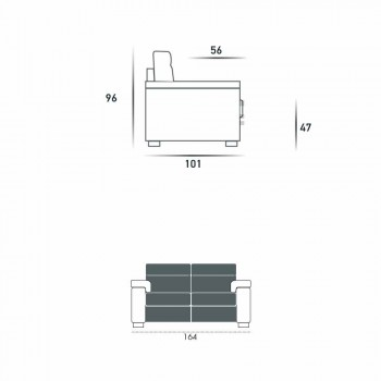 2-pers. Elektrisk afslappende sofa, 2 Lilia elektriske sæder, fremstillet i Italien