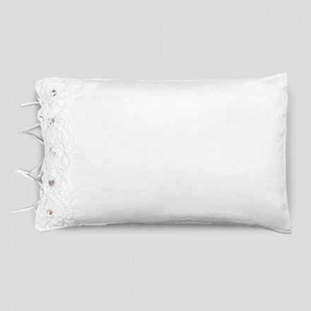 Sengelinned pudebetræk med hvid blonder, luksuriøst design lavet i Italien - Kiss
