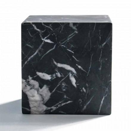 Moderne terningpapirvægt i satin sort Marquinia-marmor fremstillet i Italien - Qubino