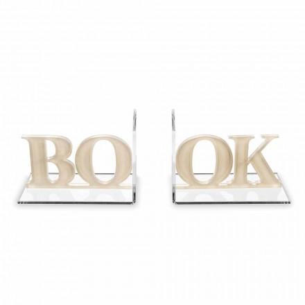 Design bogstøtter i beige eller hvid plexiglas skrevet bog - Febook