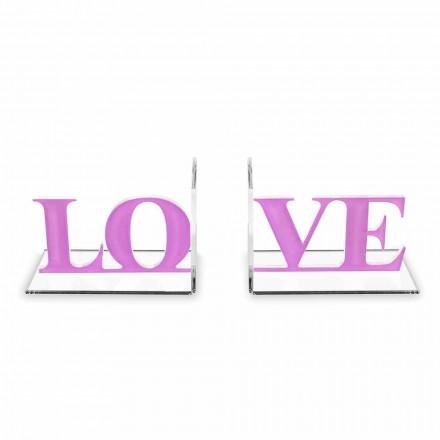 Design bogstøtter i lavendel eller rød plexiglas skriftlig kærlighed - Felove