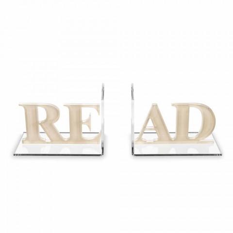 Bogstøtter i Beige eller hvid plexiglas Læsedesign - Feread