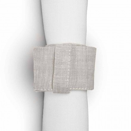 Natural Linen Serviet Ring med Loop Made in Italy, 10 stykker - Blessy