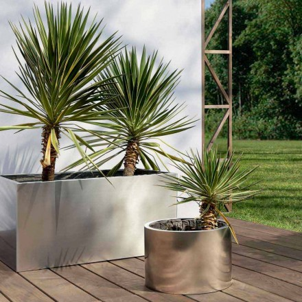 Rund eller rektangulær design haveplanter i stål fremstillet i Italien - Philly