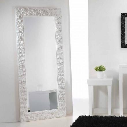 Stor hvid spejl gulv / væg med træramme blomst