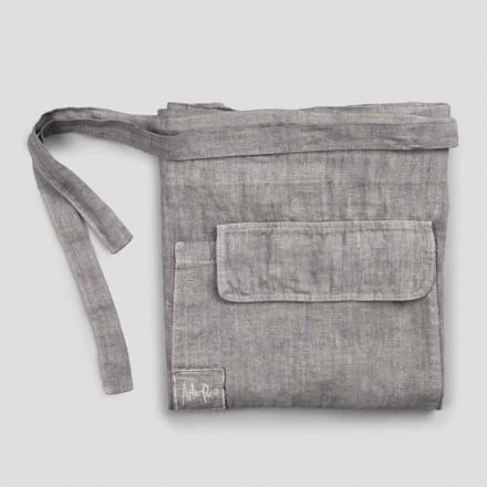Køkkenforklæde i antracitgrå linned lav model med lomme - Flick
