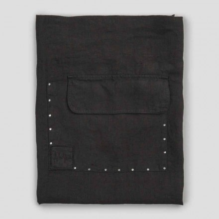 Sort linned køkkenforklæde med krystaller Lav model med lomme - klik