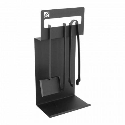 Sæt designværktøjer til pejs i sort stål fremstillet i Italien - Ostro
