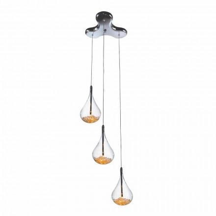 Suspension Lampe med 3 eller 4 lys i borosilicatglas og metal - pærer