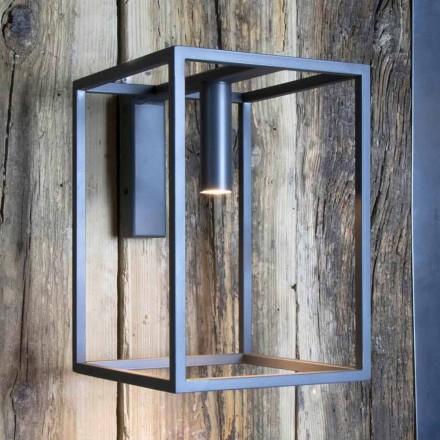 Udendørs væglampe i jern og aluminium med LED Made in Italy - Cubola