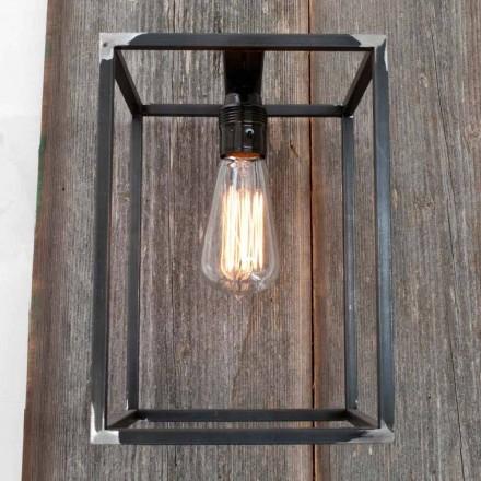Håndlavet væglampe med sort jernkonstruktion fremstillet i Italien - Cubola