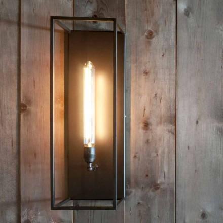 Håndlavet væglampe med sort jernkonstruktion fremstillet i Italien - Brina