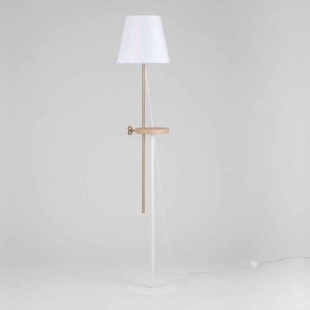 Design gulvlampe i stål, aske og messing Made in Italy - Pitulla