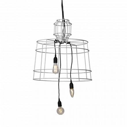 Ophængslampe 3 lys i design i hvid eller naturligt metal - Stylus