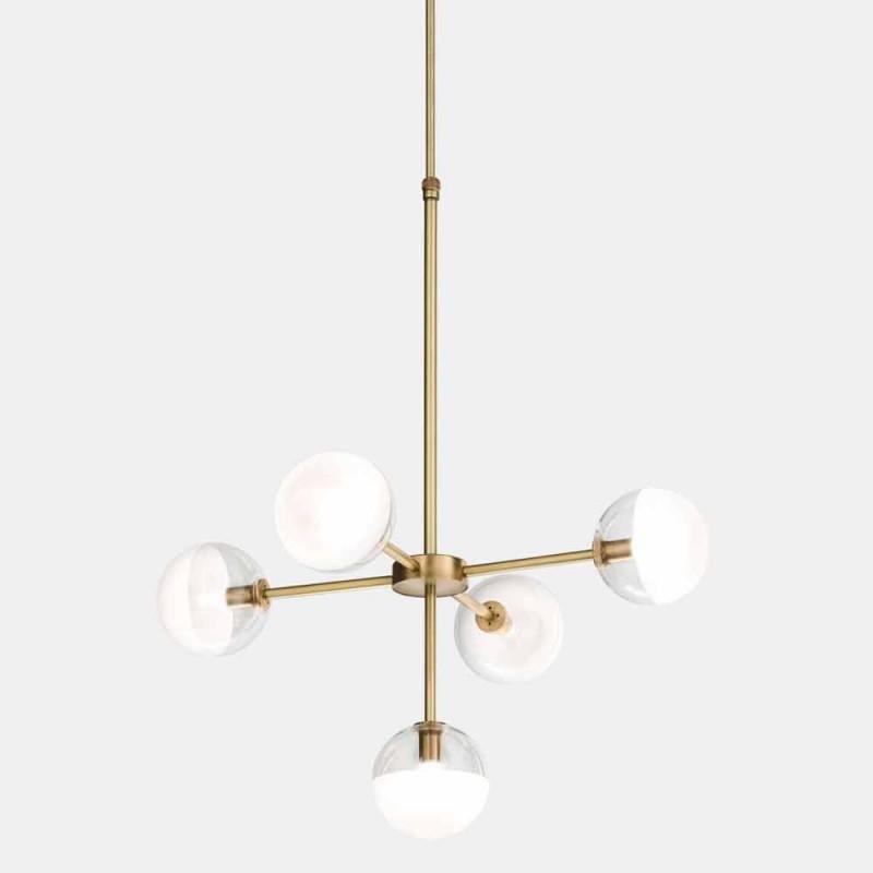 5 lys ophængslampe i naturligt messing og glas - Molecola af Il Fanale