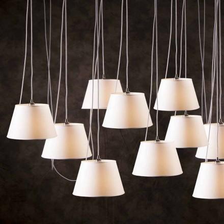 Suspension lampe med 12 lys med hvid krom højttaler