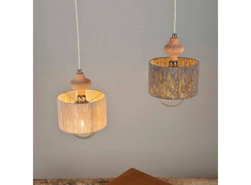 2 lys vedhæng lampe med Bois træ indsats