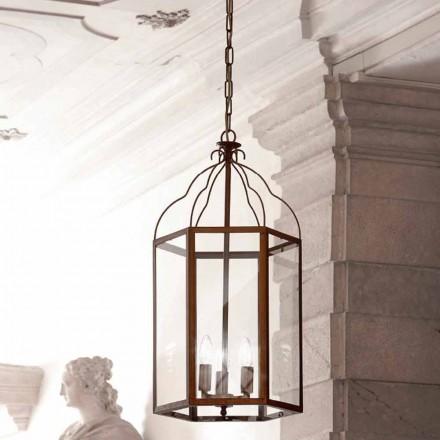 Hængende lampe med 3 lys messing og glas Turandot