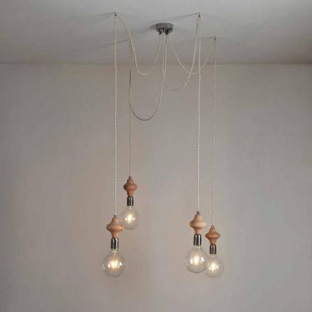 4 lamper vedhængslampe med Bois træelement