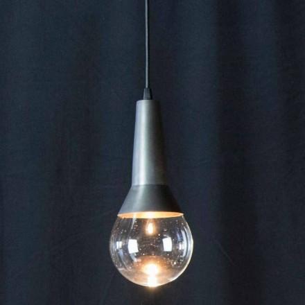 Håndlavet ophængslampe i sort jern og glas Made in Italy - Suspension