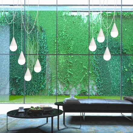 Vedhængslampe i hvid med 8 lys Drop, moderne design