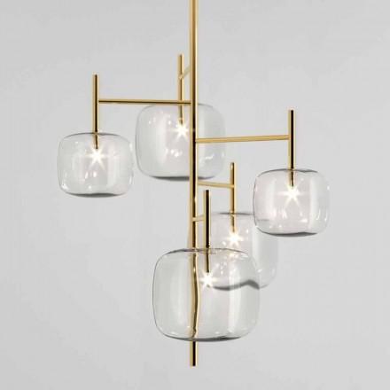 Ophængslampe med skinnende metalstruktur fremstillet i Italien - Donatina