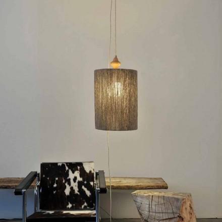 Vedhængslampe / gulvlampe i træ og 100% Bois uld
