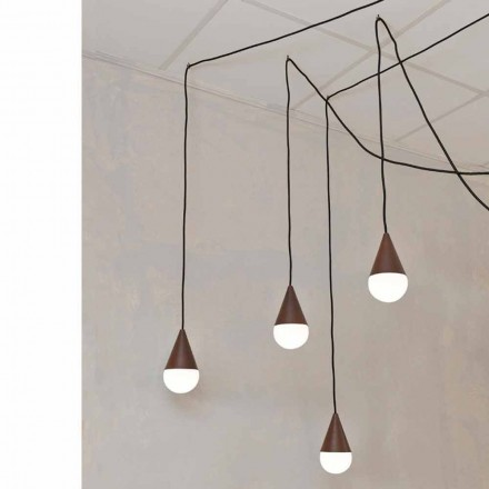 Design vedhæng lampe med 4 lys Drop, corten farve