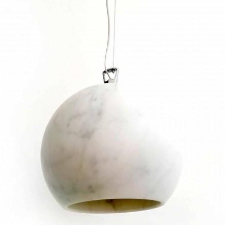 Design ophængslampe i hvid Carrara marmor fremstillet i Italien - Panda