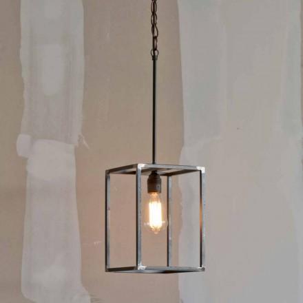Håndlavet jern vedhængslampe med kæde fremstillet i Italien - Cubola
