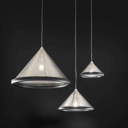 Ophængslampe i rustfrit stål og keramik - Tamiso Aldo Bernardi