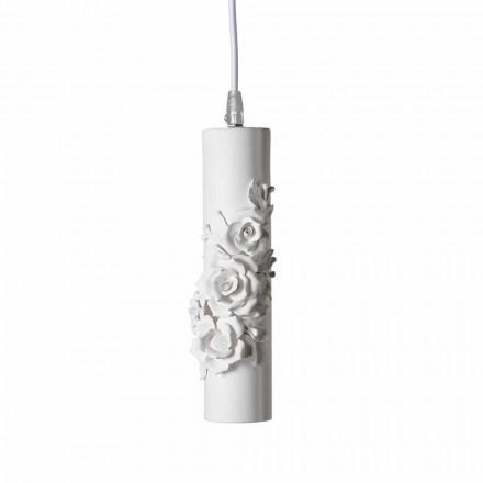 Ophængslampe i mathvid keramik med dekorative blomster - Revolution