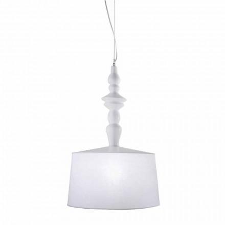 Ophængslampe i hvid keramik. Skygge i linned kort design - Cadabra