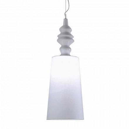 Ophængslampe i hvid keramisk lampeskærm i linned langt design - Cadabra