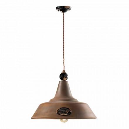 Lampe jern og keramik suspension corten Lois Ferroluce