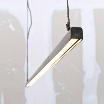 Ophængslampe i jern og reb med integreret LED fremstillet i Italien - Stecca