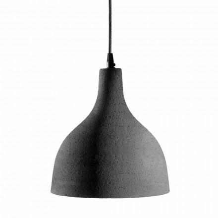 Ophængslampe i antracitstentøj og hvid indvendigt emaljedesign - Edmondo