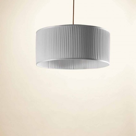 Vedhængslampe i silke, grå, Bambus