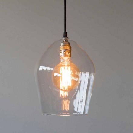 Ophængslampe i glas og jern med bomuldskabel fremstillet i Italien - Bisma
