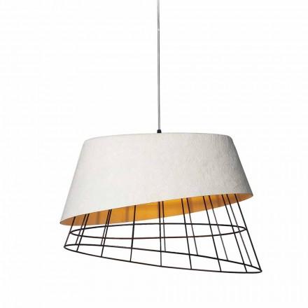 Ophængslampe i hvid glasfiber og metal Elegant design - Solar