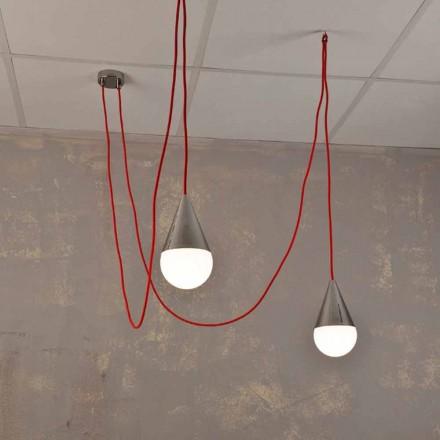 Moderne vedhængslampe med 2 lys med rødt kromkabel