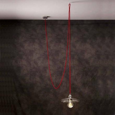 Moderne vedhængslampe med krom rødt silkekabel